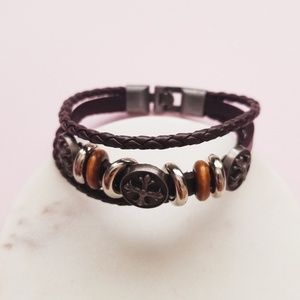 Jewelry - 5 for $25 Brown Faux Leather Bracelet